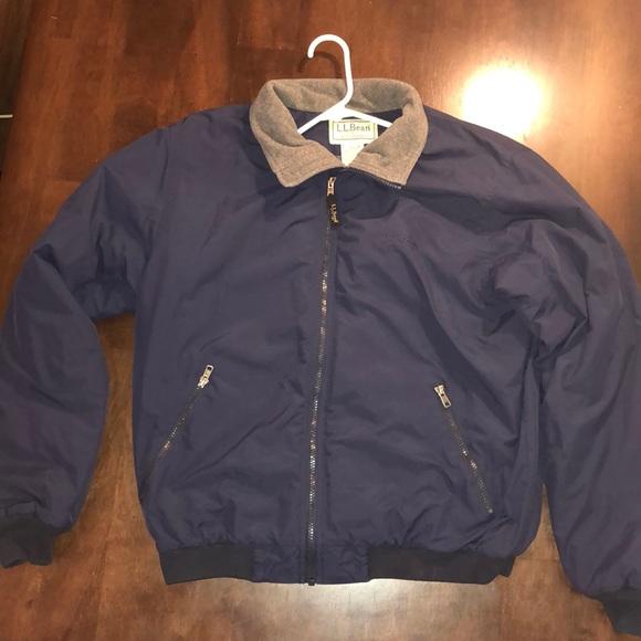 Ll Bean Warm Up Jacket Fleece Lined Navy